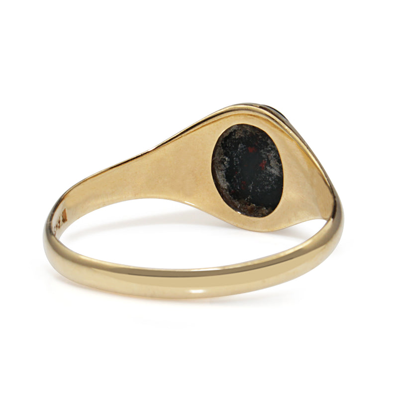 18ct Yellow Gold Vintage Blood Stone Signet Ring
