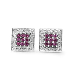 14ct White Gold Pink Sapphire and Diamond Stud Earrings