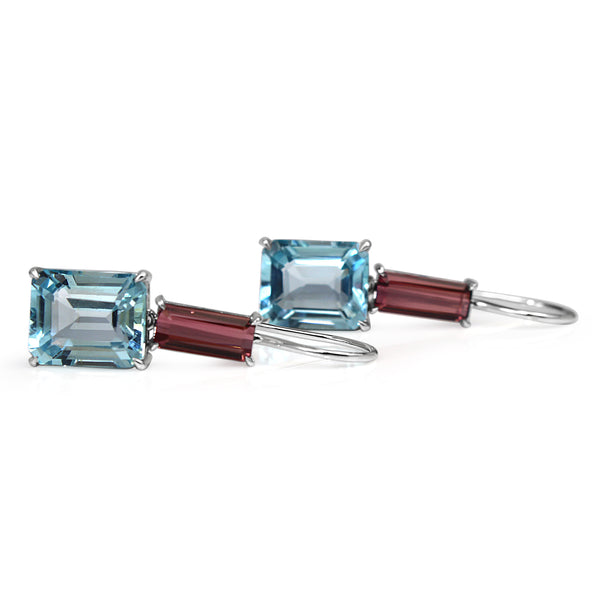 18ct White Gold Topaz and Tourmaline Earrings