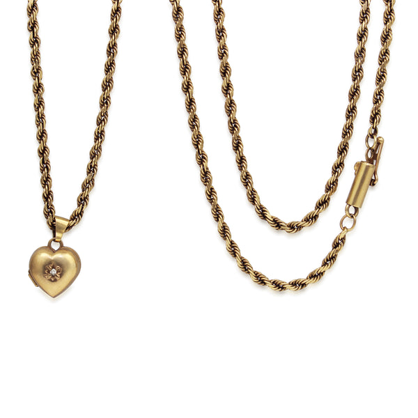 9ct Yellow Gold Long Rope Chain With Heart Locket