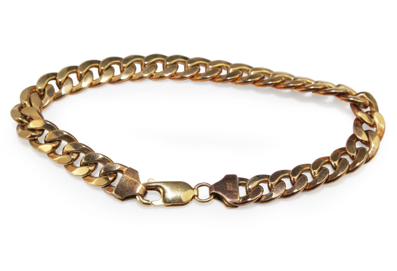9ct Yellow Gold and Silver Filled Flat Curb Link Bracelet