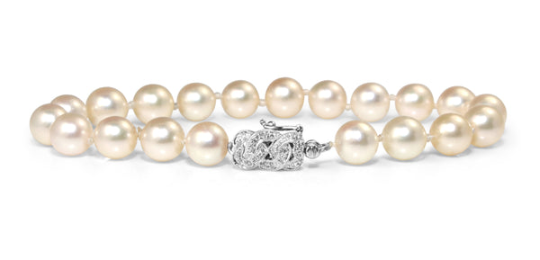 18ct White Gold Cultured Pearl Bracelet with Diamond Clasp
