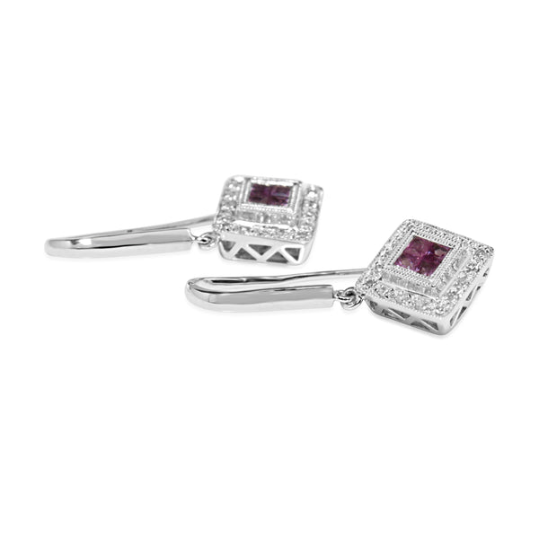 9ct White Gold Pink Sapphire and Diamond Drop Earrings