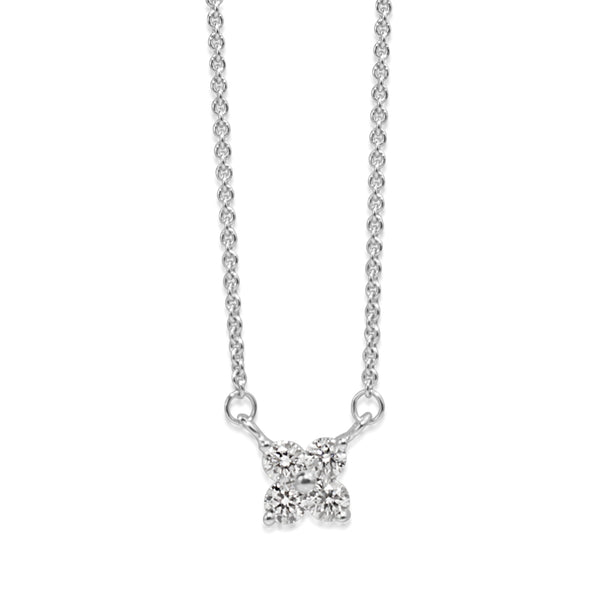 9ct White Gold 'Clover' Style Diamond Necklace