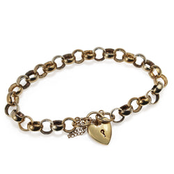 9ct Yellow and White Gold Belcher Link Bracelet with Heart Padlock
