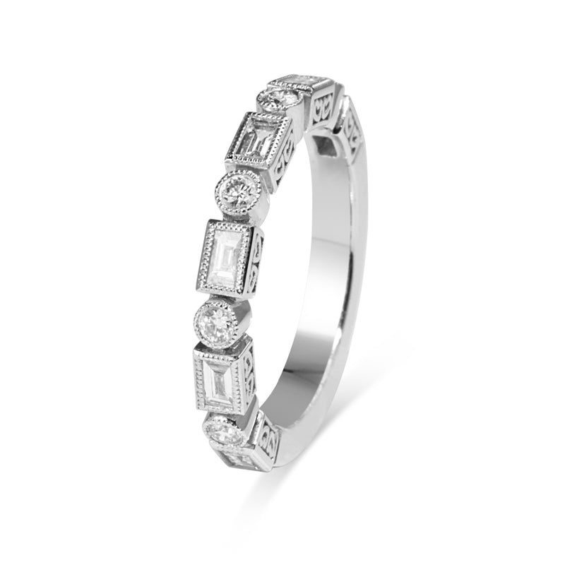18ct White Gold Deco Style Diamond Band