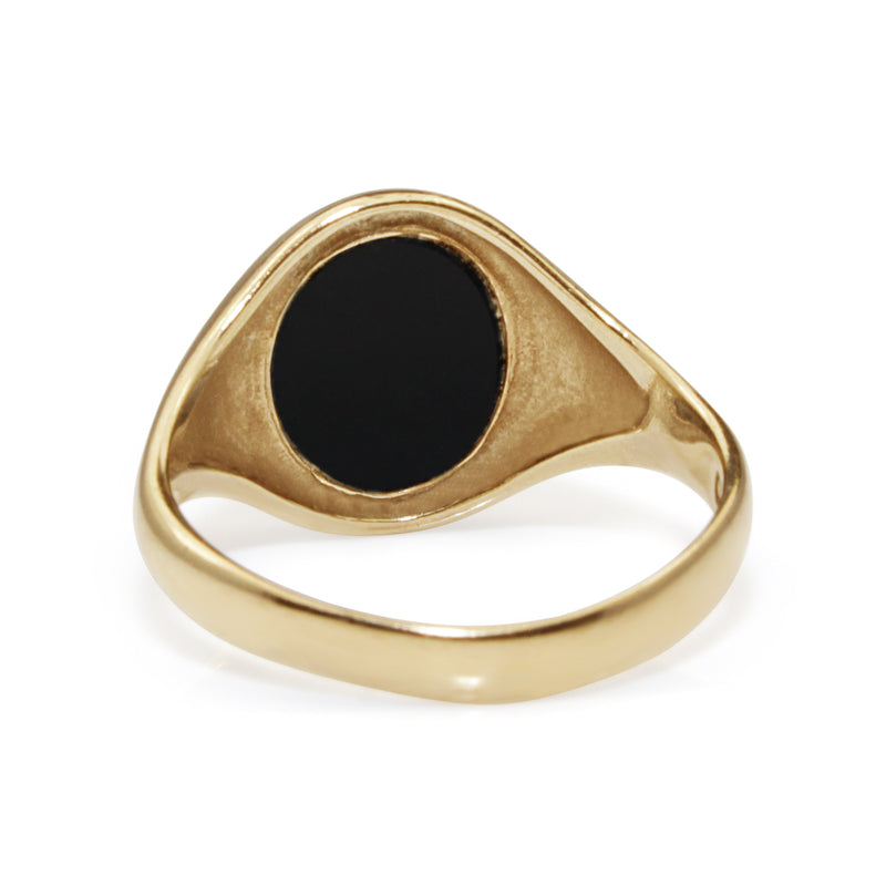 9ct Yellow Gold Vintage Onyx Signet Ring
