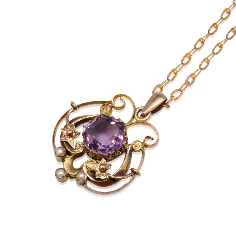 9ct Gold Antique Amethyst and Pearl Necklace