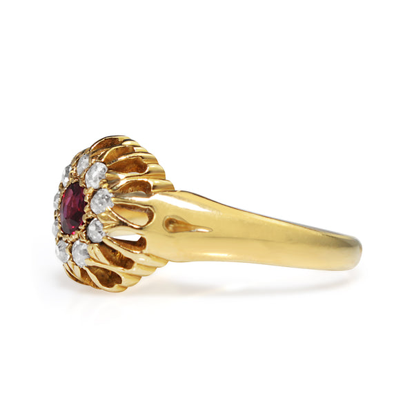 18ct Yellow Gold Antique Ruby and Old Cut Diamond Ring