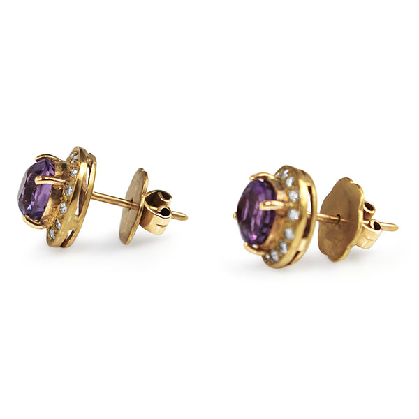 9ct Yellow Gold Amethyst and Diamond Stud Earrings