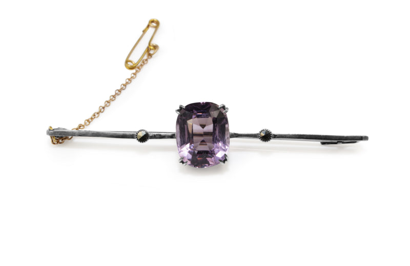 9ct White Gold Vintage Amethyst and Marcasite Brooch