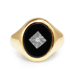 9ct Yellow Gold Vintage Onyx and Diamond Signet Ring