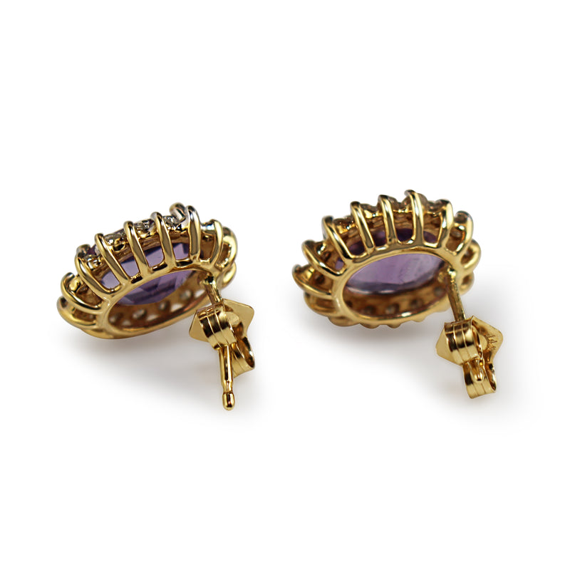14ct Yellow and White Gold Amethyst and Diamond Cluster Earrings