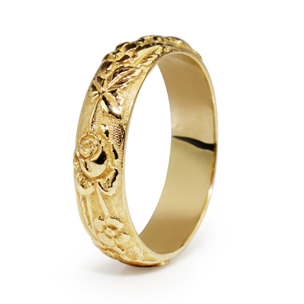 9ct Yellow Gold Engraved Floral Band