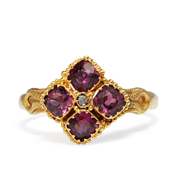 15ct Yellow Gold Antique Rhodolite Garnet Ring