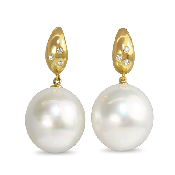 18ct Yellow Gold 14mm South Sea Pearls and Diamond Earrings