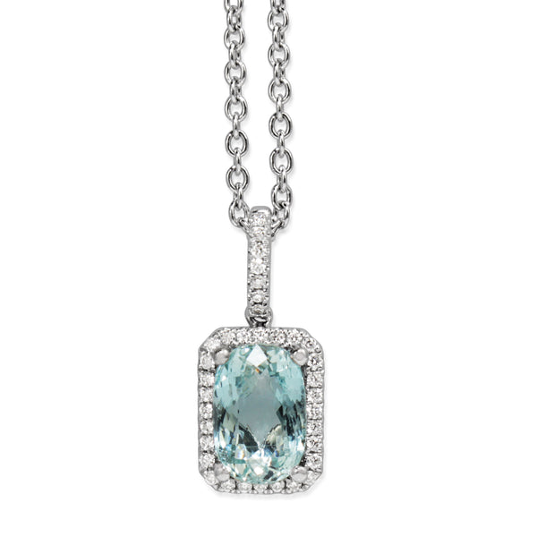 18ct White Gold Aquamarine and Diamond Halo Pendant