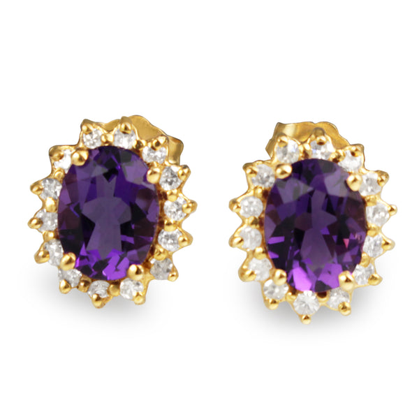 14ct Yellow Gold Amethyst and Diamond Halo Stud Earrings