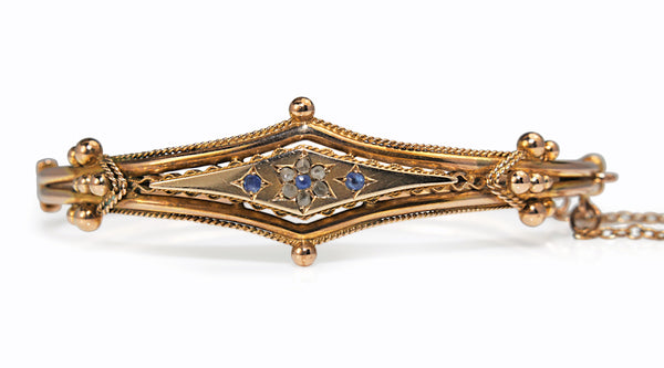9ct Yellow Gold Antique Sapphire and Rose Cut Diamond Bangle