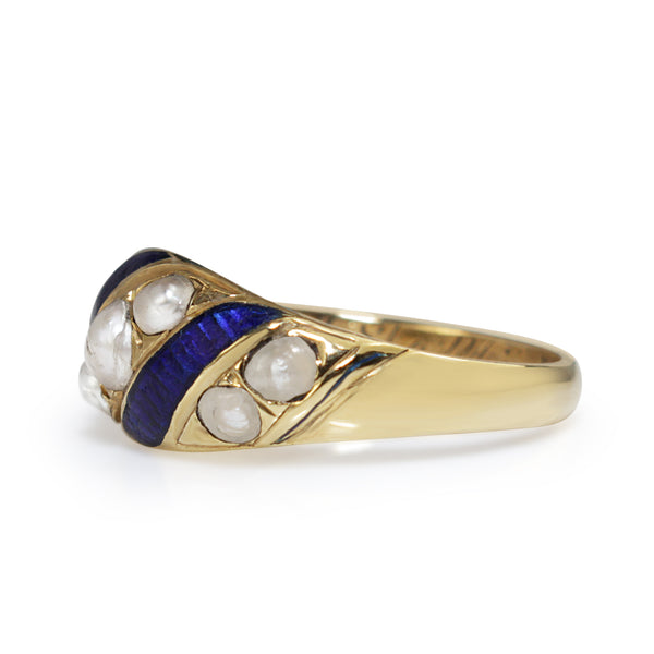 15ct Yellow Gold Antique Blue Enamel and Pearl Ring Circa 1853