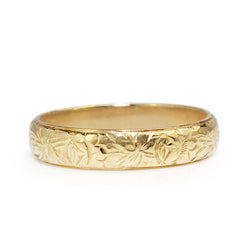 9ct Yellow Gold Engraved Band
