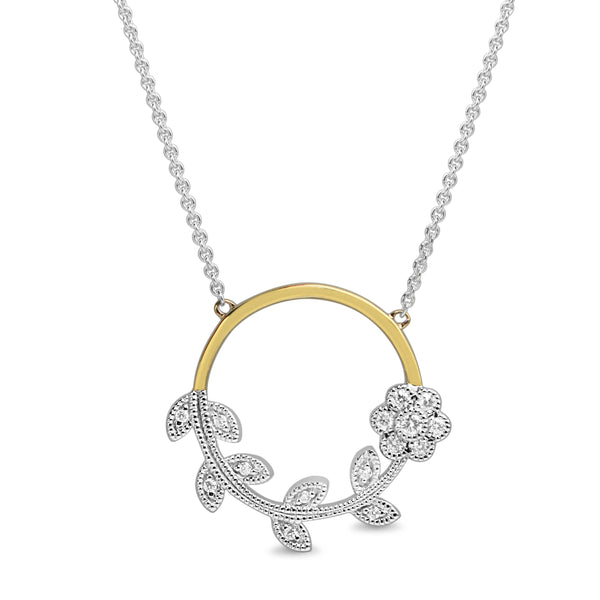 9ct Yellow and White Gold Circle Floral Diamond Necklace