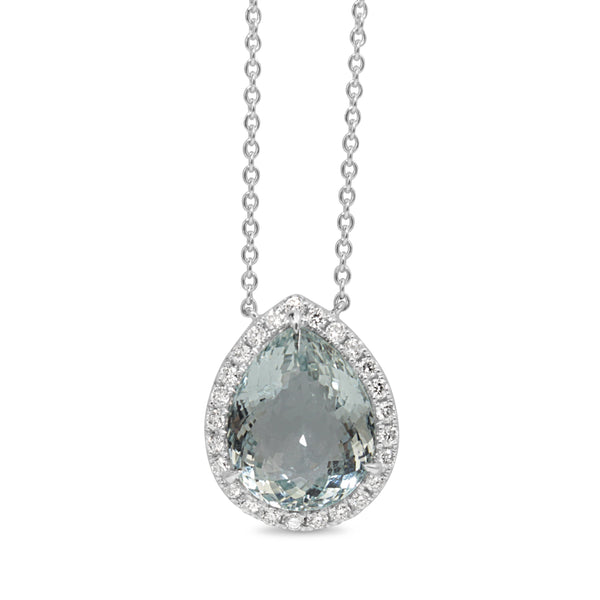 18ct White Gold Aquamarine and Diamond Halo Necklace