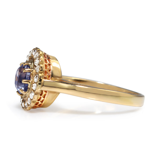 18ct Yellow Gold Antique Sapphire and Rose Cut Diamond Halo Ring
