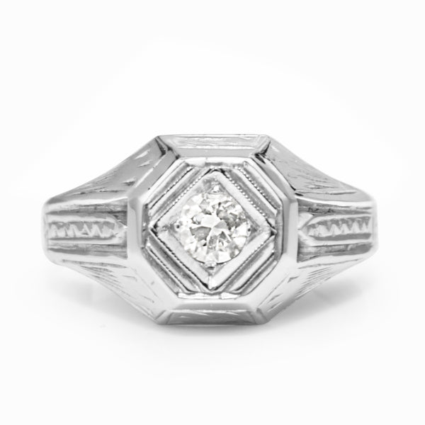 18ct White Gold Vintage Diamond Ring