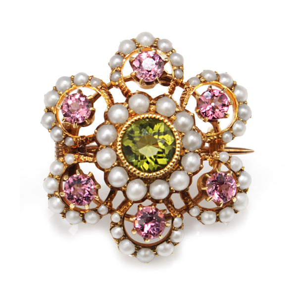 15ct Yellow Gold Antique Suffragette Tourmaline, Pearl and Peridot Brooch