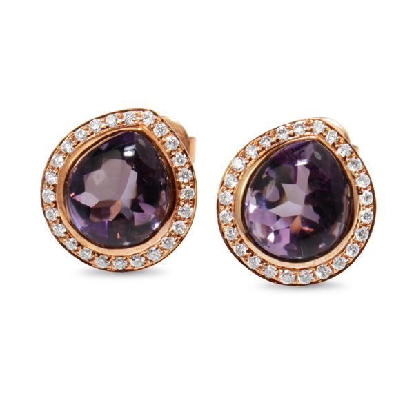 9ct Rose Gold Amethyst and Diamond Halo Stud Earrings