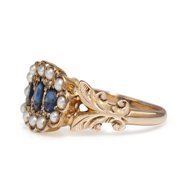 14ct Yellow Gold Sapphire, Pearl and Diamond Ring