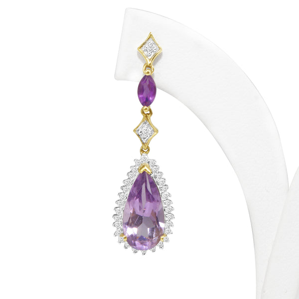 14ct Yellow and White Gold Amethyst and Diamond Drop Earrings