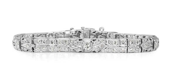 Platinum Art Deco Old Cut Diamond Bracelet