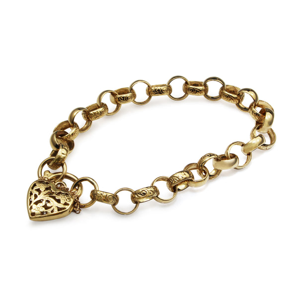 9ct Yellow Gold Day and Night Belcher Link Bracelet