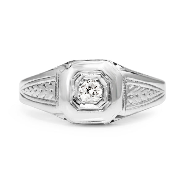 18ct White Gold Diamond Vintage Ring