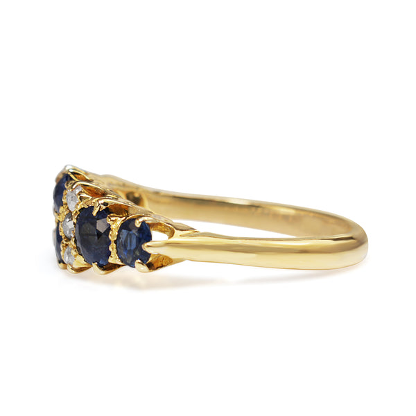 18ct Yellow Gold Antique Sapphire and Old Cut Diamond Ring