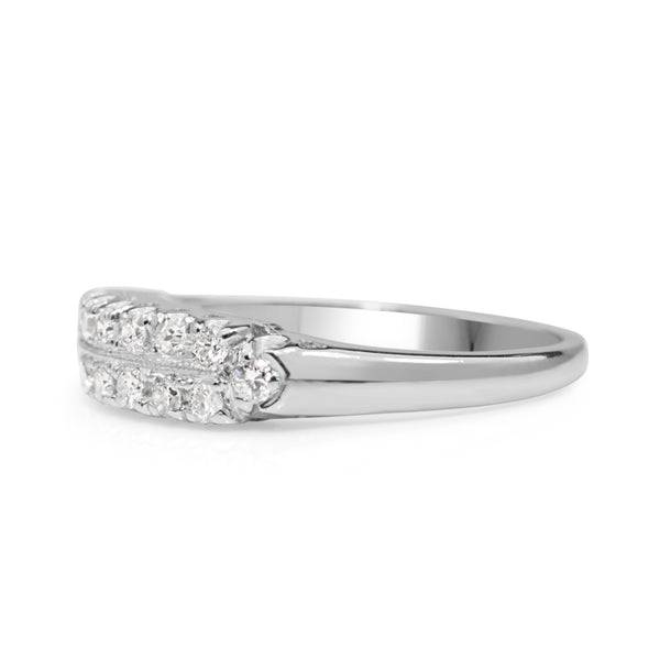 Platinum Vintage 2 Row Diamond Band Ring