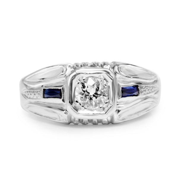 14ct White Gold Deco Style Old Cut Diamond and Sapphire Ring