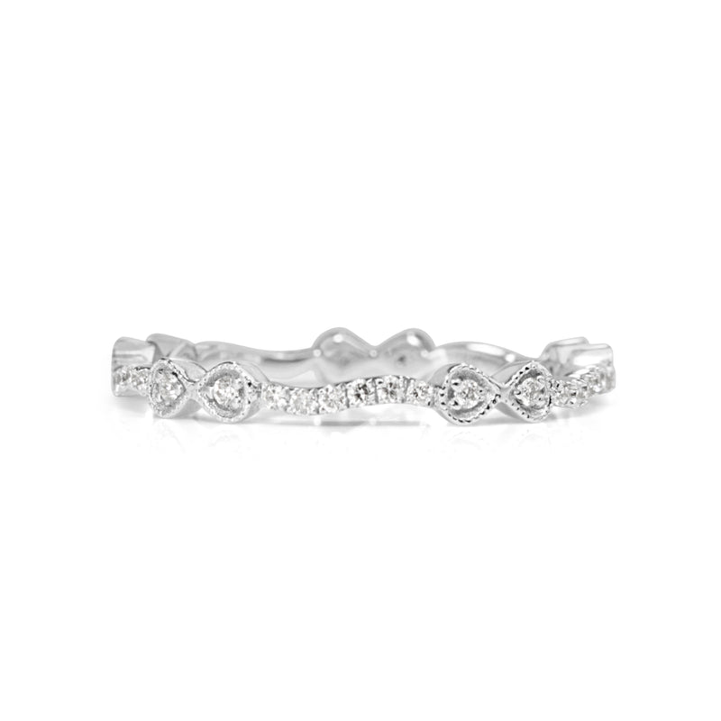 18ct White Gold All Round Diamond Bow Band
