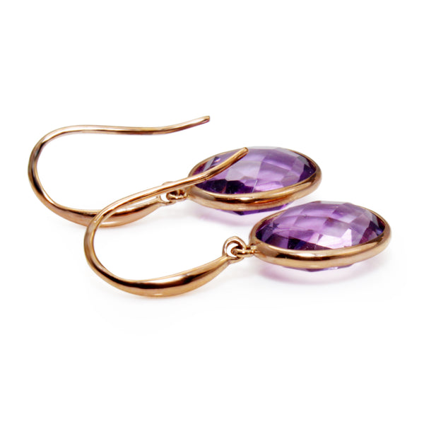 9ct Rose Gold Amethyst Earrings