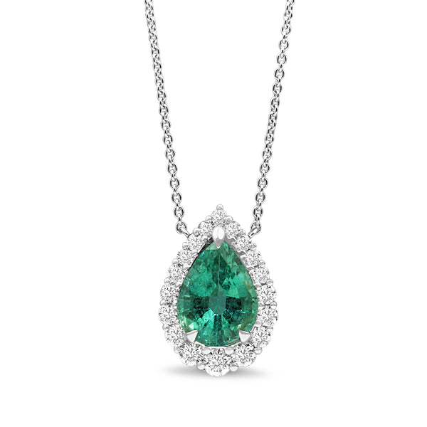 18ct White Gold Emerald and Diamond Graduated Halo Necklace