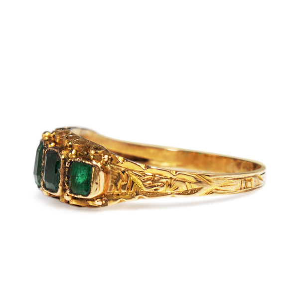 15ct Yellow Gold Antique 5 Stone Green Garnet Ring