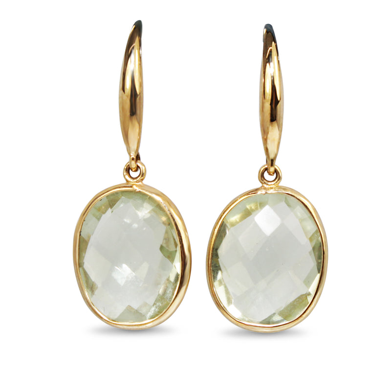 9ct Yellow Gold Green Amethyst Earrings