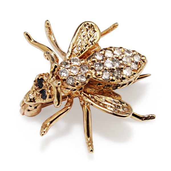14ct Yellow Gold Diamond and Sapphire Bee Brooch