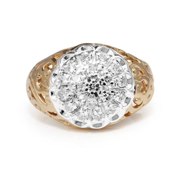 14ct Yellow and White Gold Vintage Diamond Cluster Ring