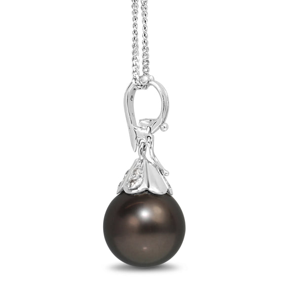 14ct White Gold 14.5mm Tahitian Pearl and Diamond Pendant / Enhancer