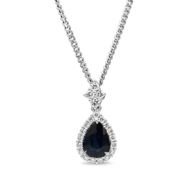 18ct White Gold Pear Sapphire and Diamond Halo Necklace