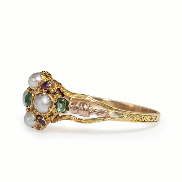 9ct Yellow and Rose Gold Amethyst, Emerald and Pearl Suffragette Ring