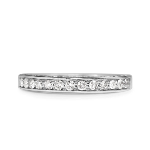 14ct White Gold Diamond Band with Engraving